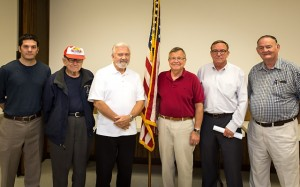 Sam Chick of Dover, an Iraq war veteran; George Schofield of Camden, a WWII veteran; Dave Skocik of Dover; Bill Gay of Bethany Beach; John Knotts of Dover; and Paul Davis of Dover, all Vietnam and Vietnam-era veterans, line up after the meeting. Messrs. Skocik and Davis serve as president and vice president of the Veterans Coalition. John Knotts is executive director of the Commission of Veterans Affairs.